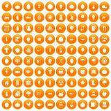 100 health food icons set orange. 100 health food icons set in orange circle isolated on white vector illustration Vector Illustration