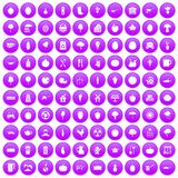 100 health food icons set purple. 100 health food icons set in purple circle isolated on white vector illustration Stock Image
