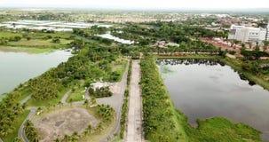 Drone view 4K Nong Han Lake Sakon Nakhon stock video footage