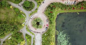 Health Garden drone view landmark of Sakon Nakhon stock video footage