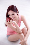 Health girl enjoy Apple Royalty Free Stock Photography