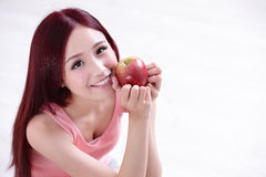 Health girl show Apple Royalty Free Stock Photos