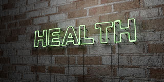 HEALTH - Glowing Neon Sign on stonework wall - 3D rendered royalty free stock illustration. Can be used for online banner ads and direct mailers Royalty Free Stock Photo