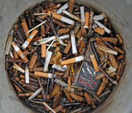 Health hazard. Photo of a bin full of cigarette butts. photo taken 27th april 2015 and ideal for health issues,quit smoking etc stock photos