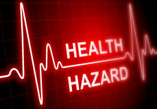 HEALTH HAZARD - written on red heart rate monitor Stock Image