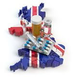 Health, healthcare, medicine and pharmacy in UK Great Britain co. Ncept. Pills, vials and syringe on the map of UK isolated on white background. 3d illustration vector illustration