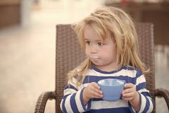 Health and healthy dieting. Child and childhood. Toddler with long blond hair holding blue cup. Boy drinking milk on chair. Nutrition and growth concept Stock Image