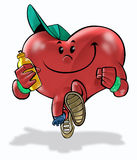 Health Heart 02. A heart running and making exercises stock illustration