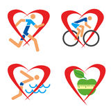 Health heart fitness icons. Stock Images
