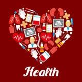 Health heart medical vector poster of medicines Stock Photos