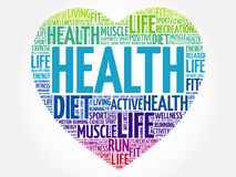 HEALTH heart word cloud. Fitness, sport, health concept Royalty Free Stock Photos
