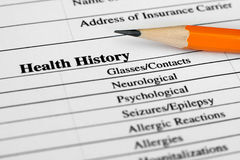 Health history form stock images
