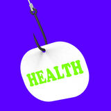 Health On Hook Shows Medical Care Or Wellbeing. Health On Hook Showing Medical Care Health Or Wellbeing Stock Photography