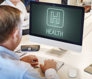 Health Hopistal Icon Symbol Concept. People Checking Health Cure Hospital Royalty Free Stock Photo