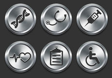 Health Hospital Icons on Metal Internet Button Royalty Free Stock Photo