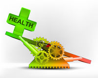 Health icon in green area on swing machine concept vector Stock Photos