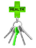 Health icon on key ring with green one isolated vector Royalty Free Stock Images