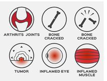 Health icon  / set / arthritis joints bone cracked tumor inflamed eye muscle. On grey background Stock Photography