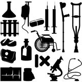 Health Icons. Silhouette of medical equipment Royalty Free Stock Photo