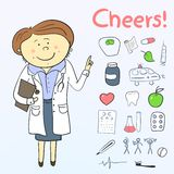 Health icons, doodle ilustration, woman doctor Stock Images