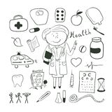 Health icons, doodle ilustration, woman doctor Stock Photography