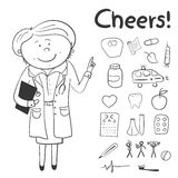 Health icons, doodle ilustration, woman doctor Stock Photos