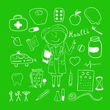 Health icons, doodle ilustration, woman doctor Stock Photo