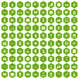 100 health icons hexagon green. 100 health icons set in green hexagon isolated vector illustration Stock Photos