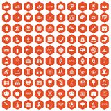 100 health icons hexagon orange. 100 health icons set in orange hexagon isolated vector illustration Stock Images