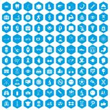 100 health icons set blue. 100 health icons set in blue hexagon isolated vector illustration royalty free illustration