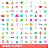 100 health icons set, cartoon style. 100 health icons set in cartoon style for any design vector illustration Royalty Free Stock Photography