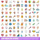 100 health icons set, cartoon style. 100 health icons set in cartoon style for any design vector illustration Stock Photography