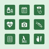 Health icons set. Set of flat health or medical icons vector illustration isolated Stock Image