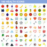 100 health icons set, flat style. 100 health icons set in flat style for any design vector illustration Royalty Free Illustration