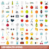 100 health icons set, flat style Royalty Free Stock Image