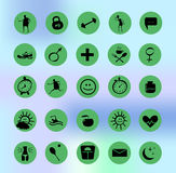 Health icons set. Funny health icons set with mesh background Royalty Free Stock Photos