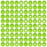 100 health icons set green circle. Isolated on white background vector illustration Royalty Free Stock Image