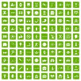 100 health icons set grunge green. 100 health icons set in grunge style green color isolated on white background vector illustration Vector Illustration