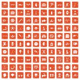 100 health icons set grunge orange. 100 health icons set in grunge style orange color isolated on white background vector illustration Royalty Free Stock Photography