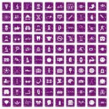 100 health icons set grunge purple. 100 health icons set in grunge style purple color isolated on white background vector illustration Royalty Free Stock Photos