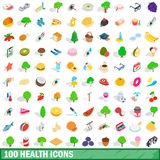 100 health icons set, isometric 3d style Royalty Free Stock Photo