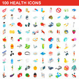 100 health icons set, isometric 3d style Stock Photos