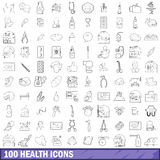 100 health icons set, outline style Royalty Free Stock Photography