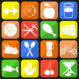 Health icons. Set of icons on a theme of a healthy lifestyle Royalty Free Stock Photos