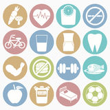 Health icons set. Vector white icons health set 16 with color circle Stock Photo