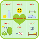 Health. Images of the main components of a healthy lifestyle Stock Illustration