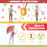 Health And Immune Protection Horizontal Banners. With umbrella as symbol of vaccination and vitamins help flat vector illustration Stock Images
