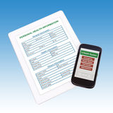 Health information on mobile nad taplet. Royalty Free Stock Photography