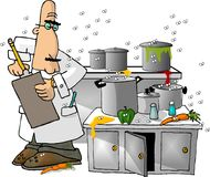 Health Inspector. This illustration that I created depicts a man checking a filthy kitchen Stock Photos