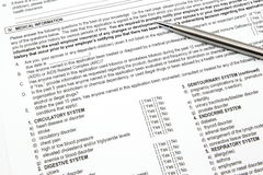 Health Insurance Application Medical section Stock Photography